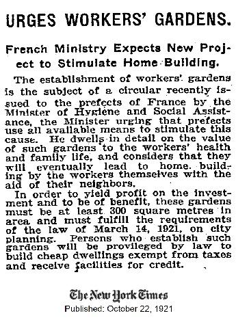 Workers' Garden 1921 NYT Article