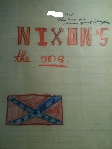 Nixon's the one with flag